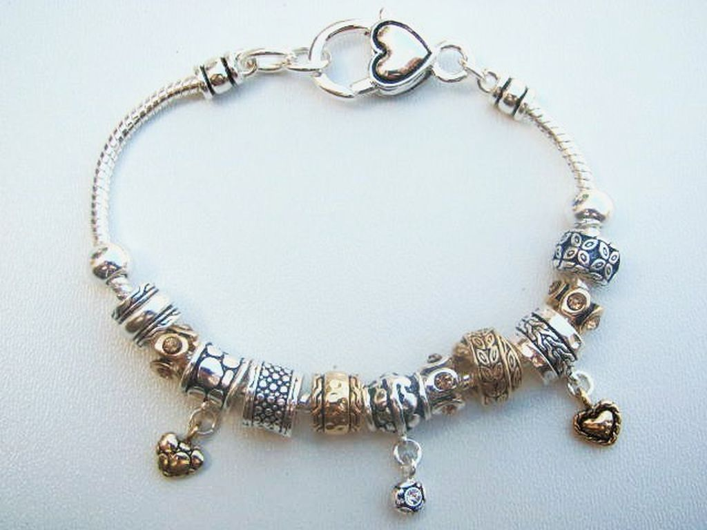 Pandora Inspired Heart Love Charm Bead Bracelet, Vintage Two-Tone Designer's Touch