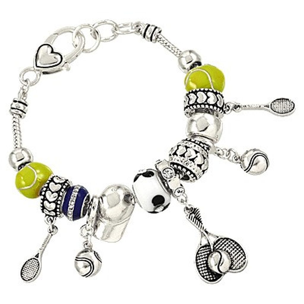 Pandora Inspired Tennis Sport Theme Charm Bracelet, Ball Rocket Hat
