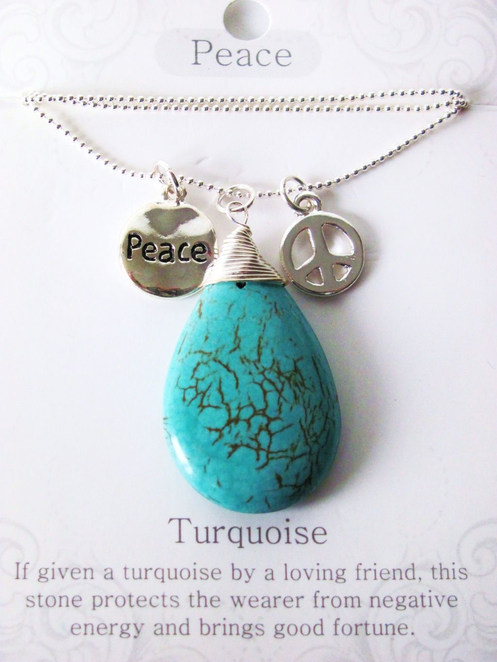 Peace Stone Genuine Turquoise Tear Drop Pendant Necklace w/ Charms