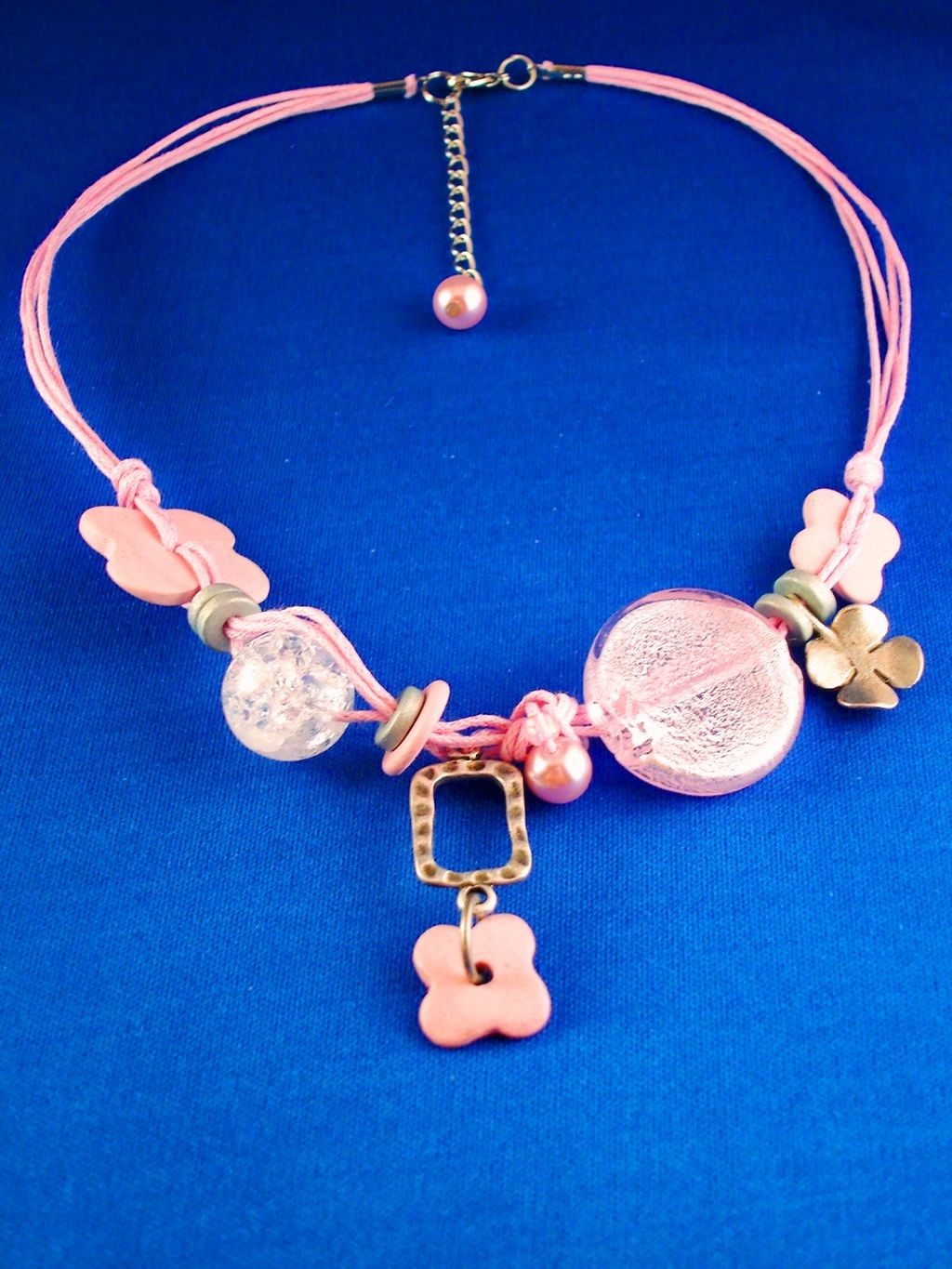 Pink Flowers Charm & Bead Necklace, Stained Glass Circle & Crystal Ball, Artificial Pearls, Ceramic, Cotton Cord, European Fashion Jewelry