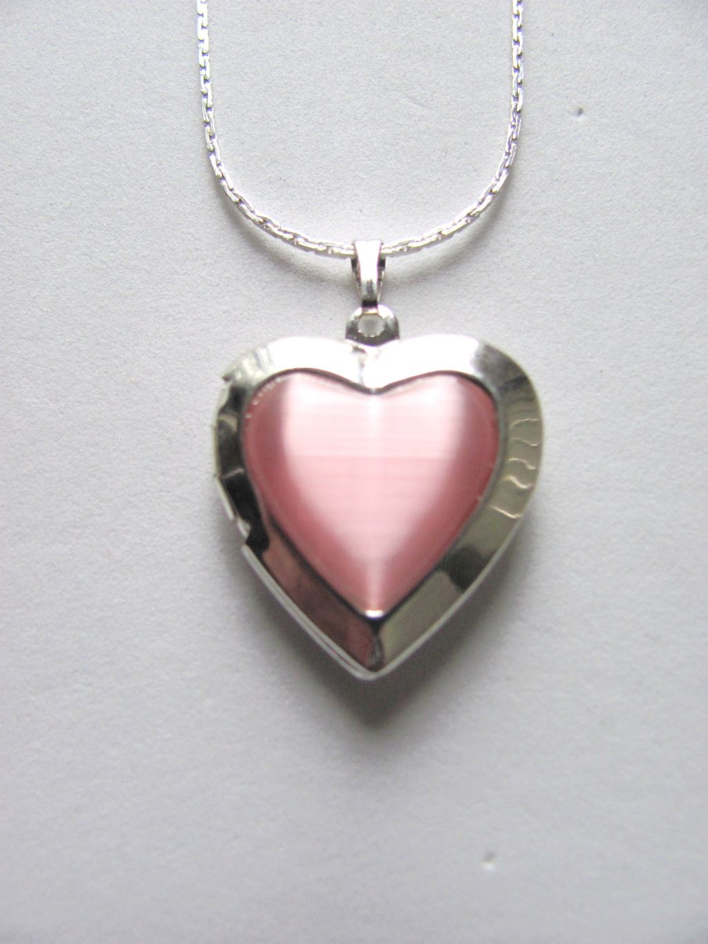 Pink Zircon Heart Locket Photo Pendant Necklace, Silver Tone