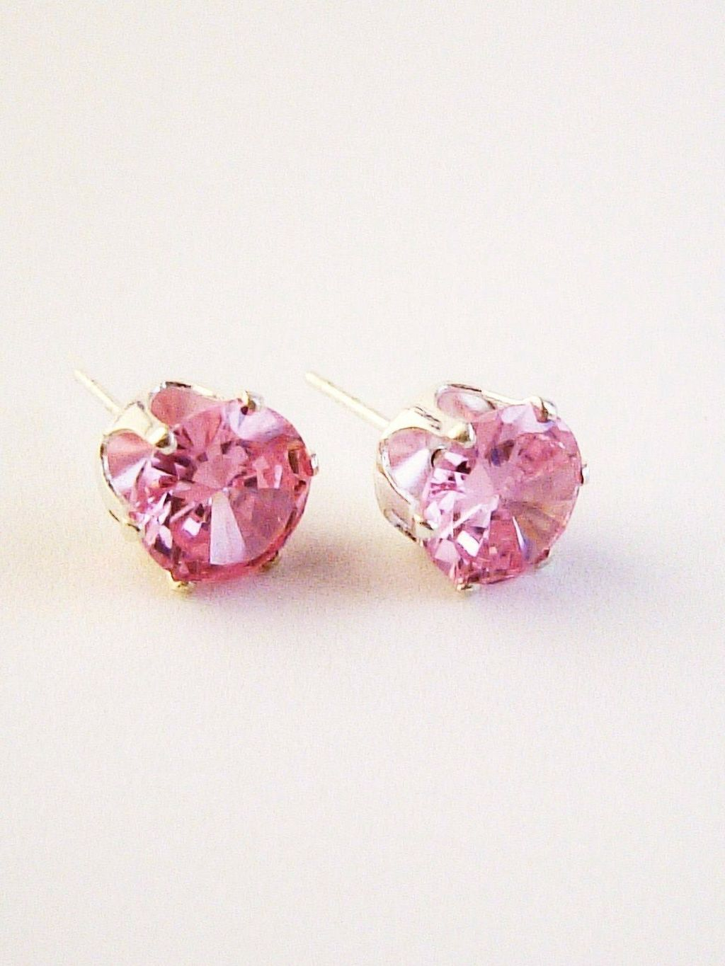Pink Zircon Round Cut Silver Stud Earrings Genuine CZ Cubic Zirconia