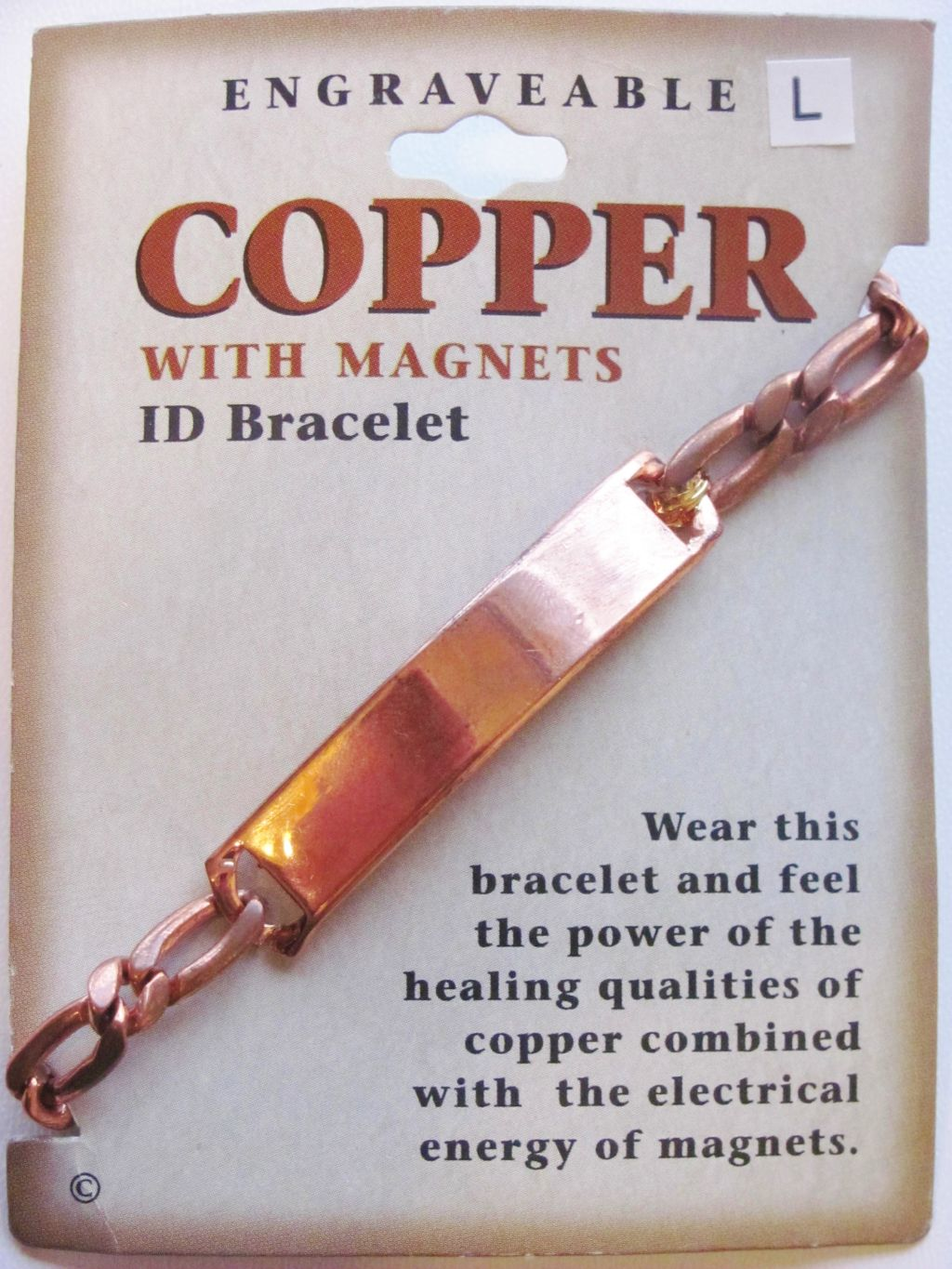 Pure Copper Link Magnetic Engraveable ID Bracelet, Treats Naturally