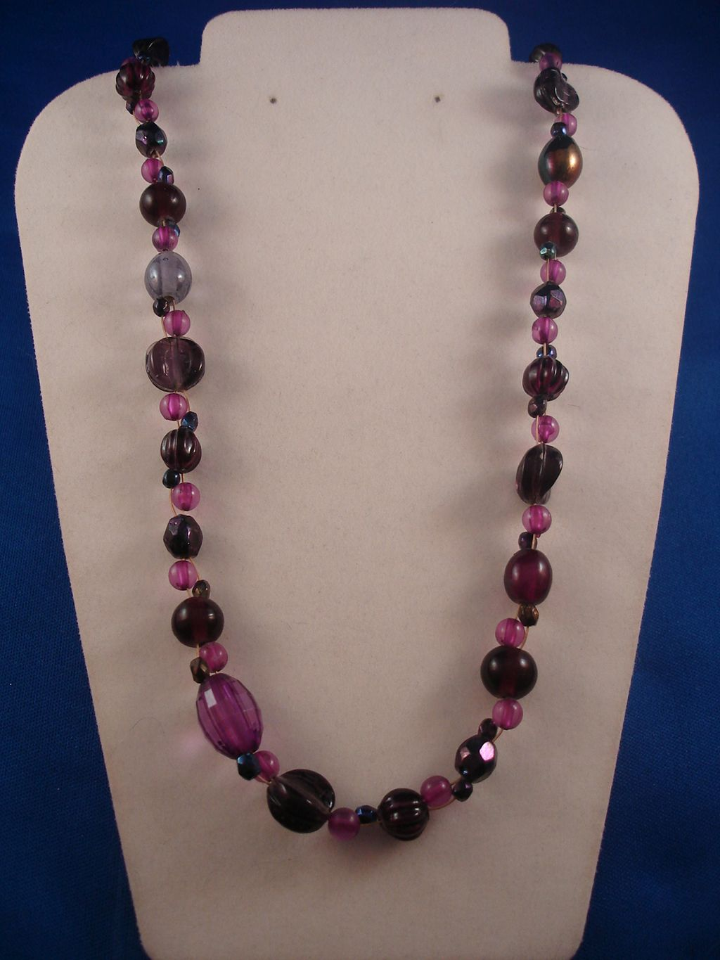 "Purple Beads 30"" Necklace, Anti-allergic Jewelry"