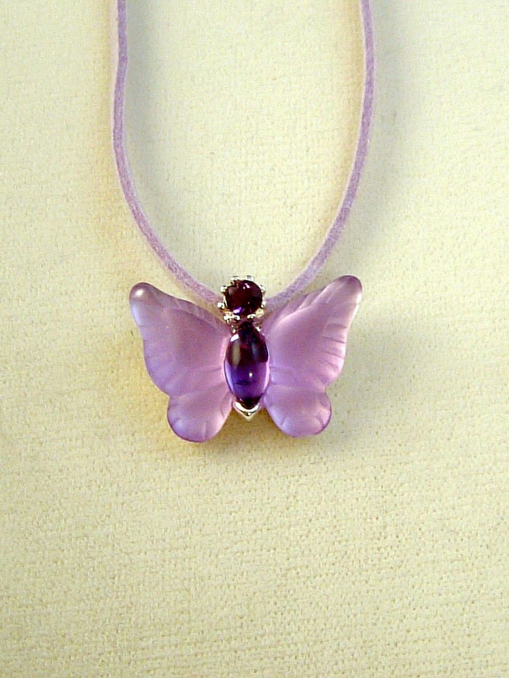 Purple Butterfly Pendant Necklace, Genuine Austrian Crystals, Leather Cord, Anti-allergic Jewelry