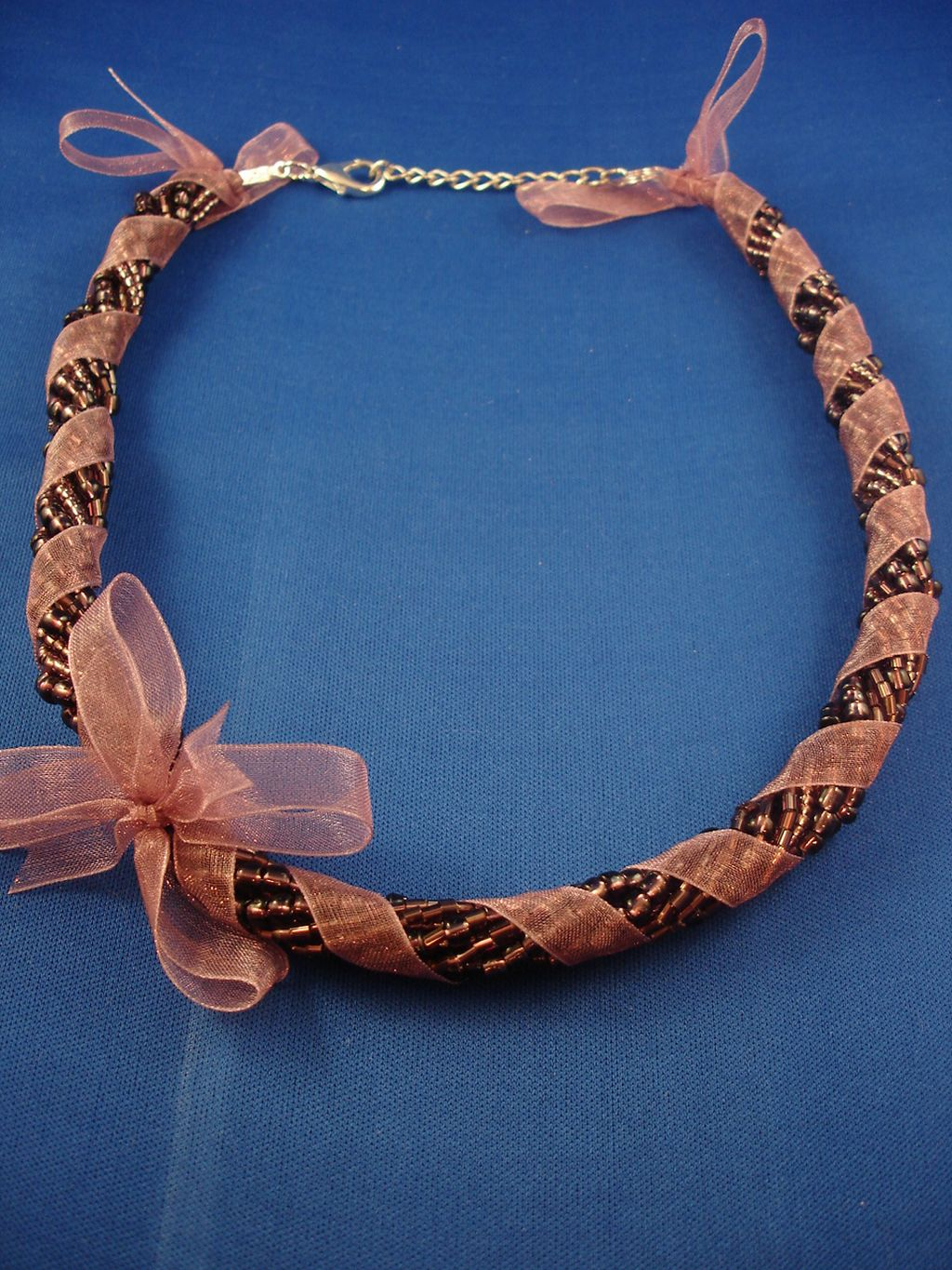 Purple Ribbon Necklace, Eight Twisted Strings of Beads, European Fashion Jewelry