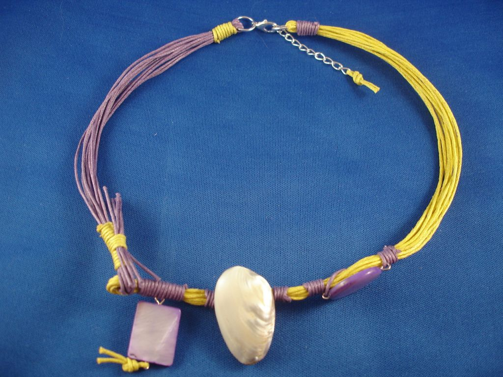 Purple/Yellow Necklace, Black Sea Shells, Wood, Cotton Cord, European Fashion Jewelry