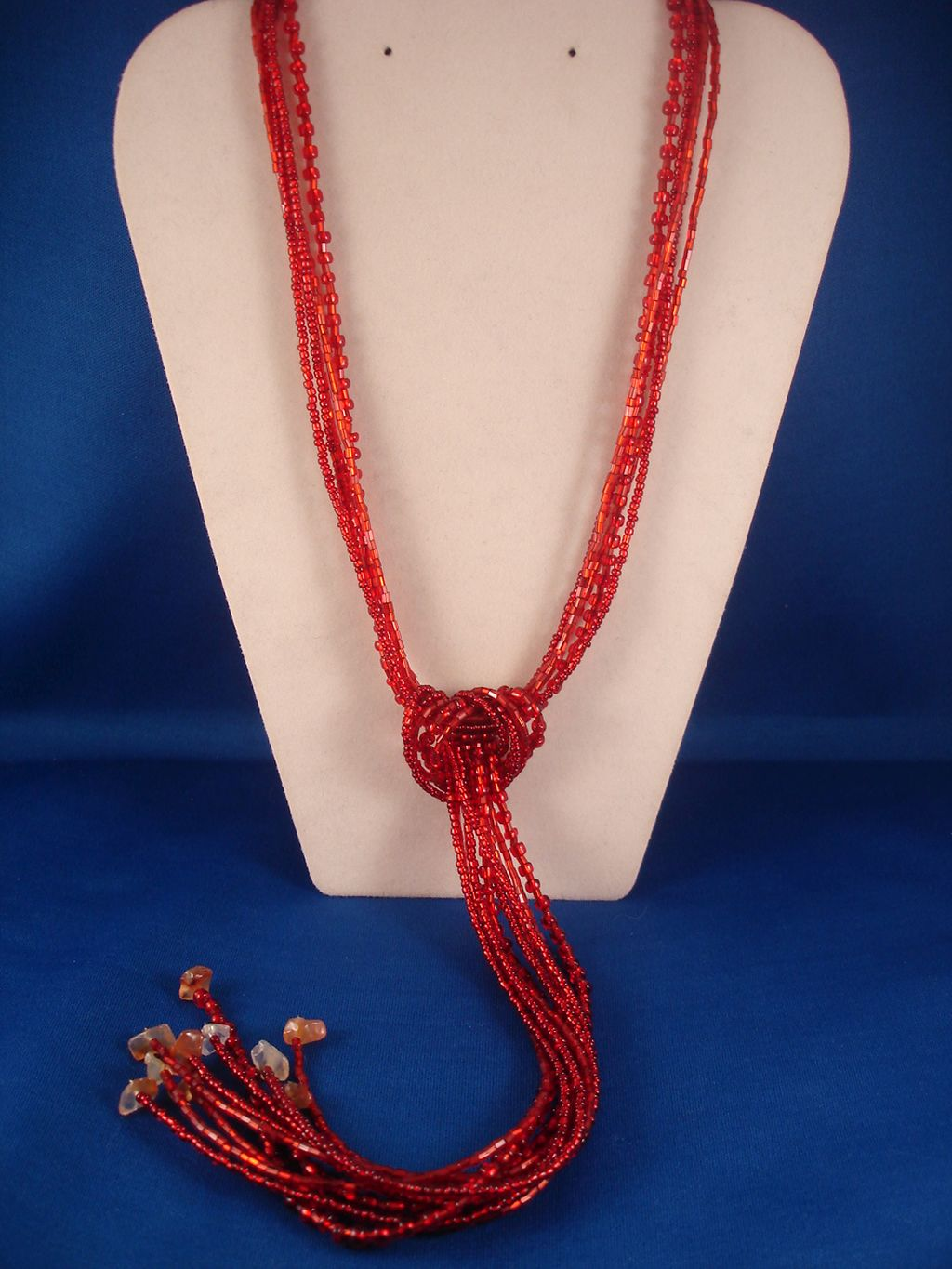Red Beads & Genuine Stones Contemporary Knot Necklace