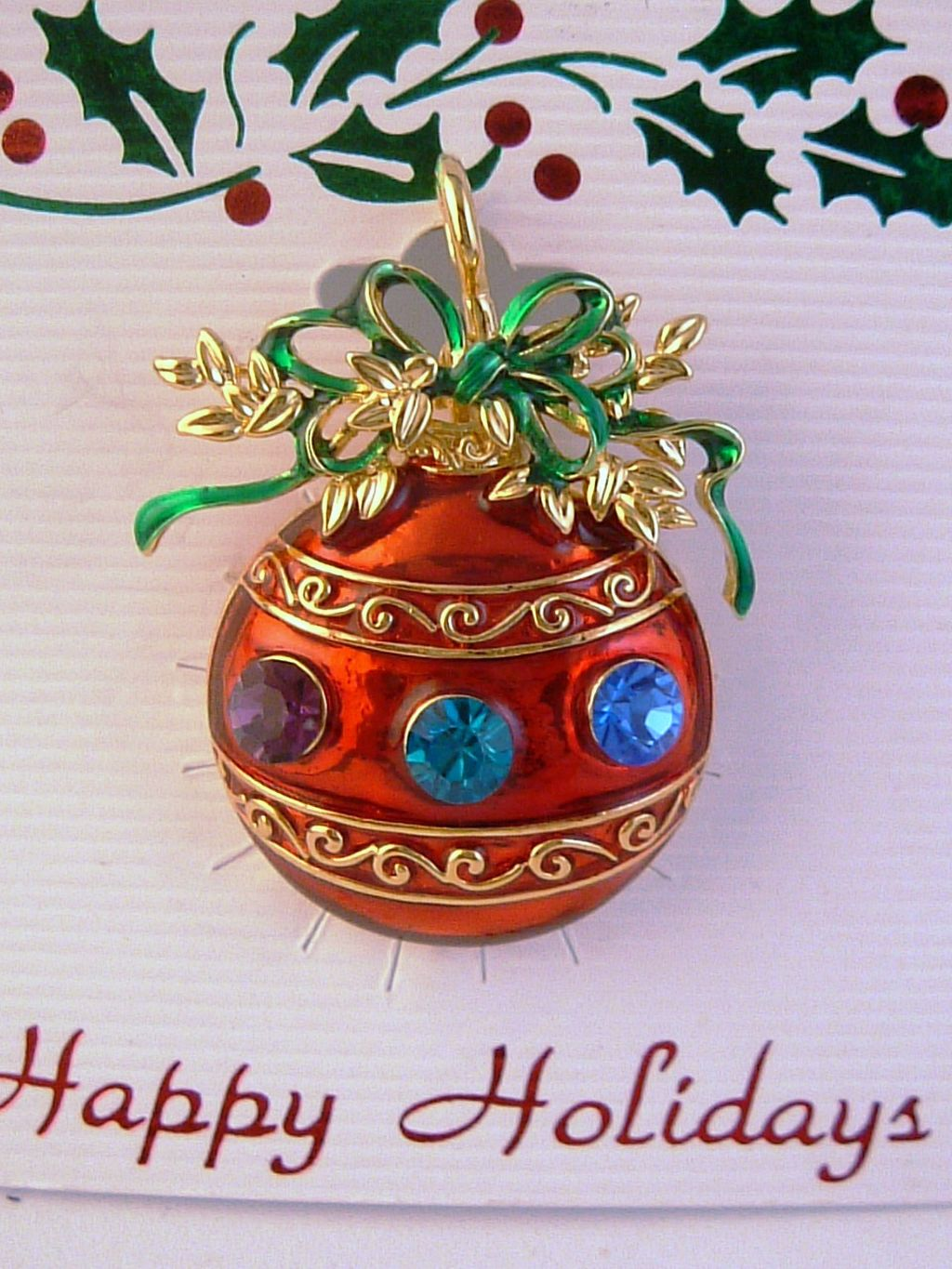 Red Christmas Ornament Pin Pendant, Purple Green Blue Austrian Crystals