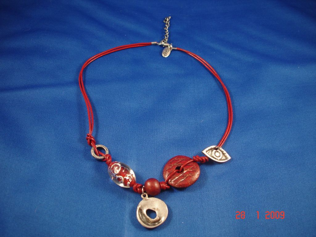 Red Evil Eye Genuine Leather Necklace, Protects from Evil Spirit, European Fashion Jewelry