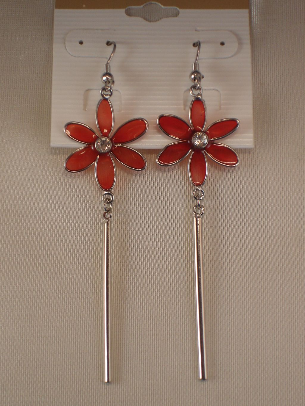 Red Flower Dangling Earrings, CZ Stones, Stained Glass, Silver Tone Anti-allergic Metal