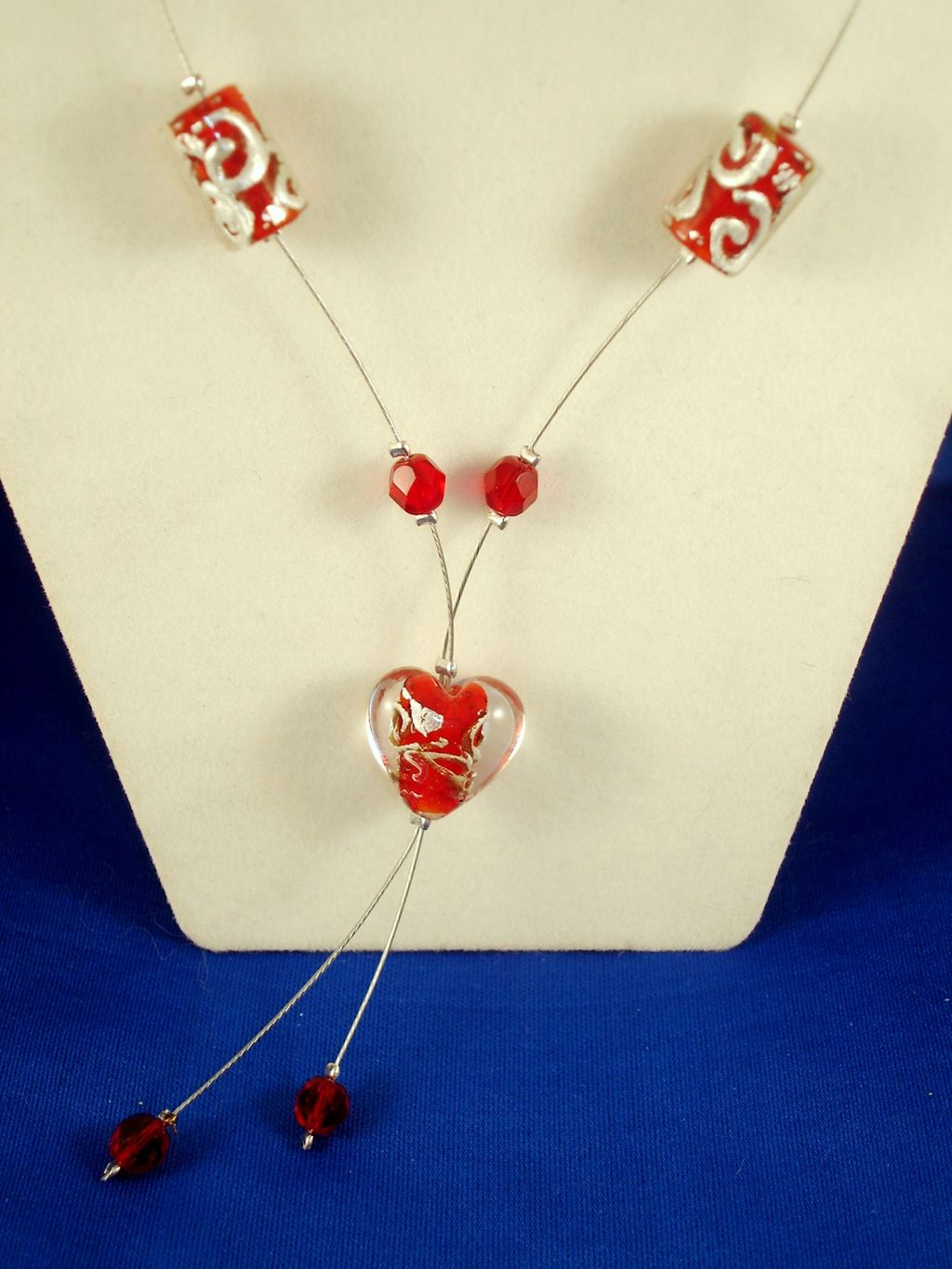 Red Heart Stained Glass Necklace, European Fashion Jewelry