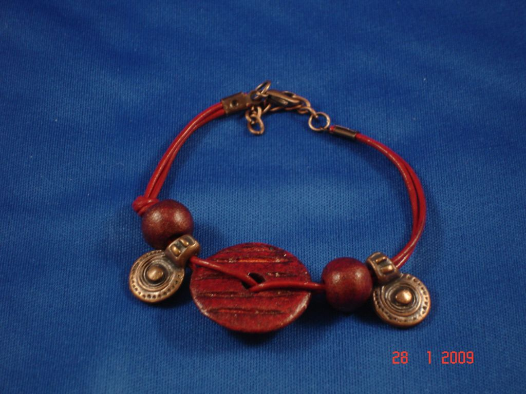 Red Leather Contemporary Bracelet, Copper Charms