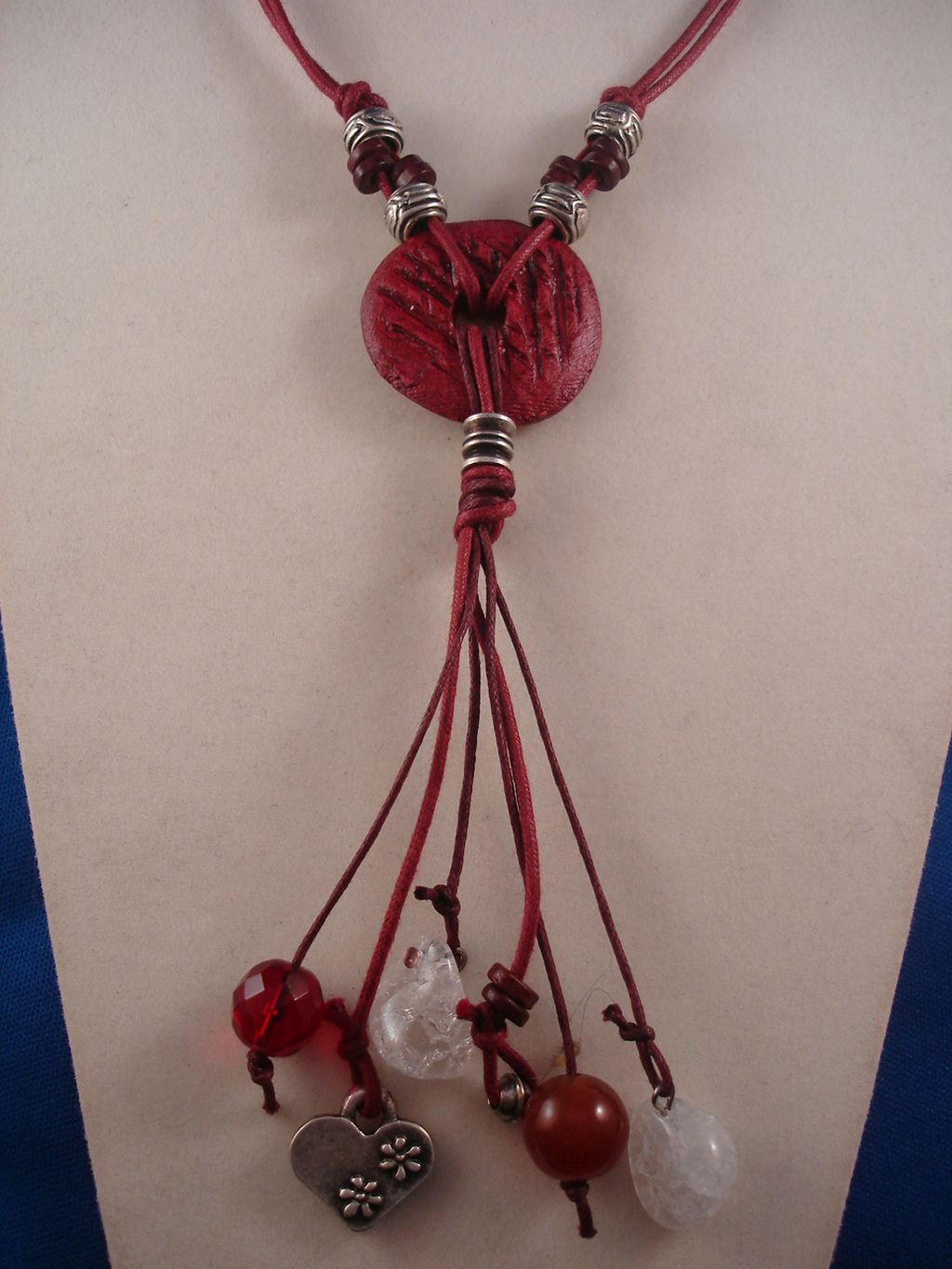 "Red Necklace, 1 1/4"" Ceramic Pendant, Heart Charm, Genuine Stones, Cotton Cord, Metal Beads, European Fashion Jewelry"