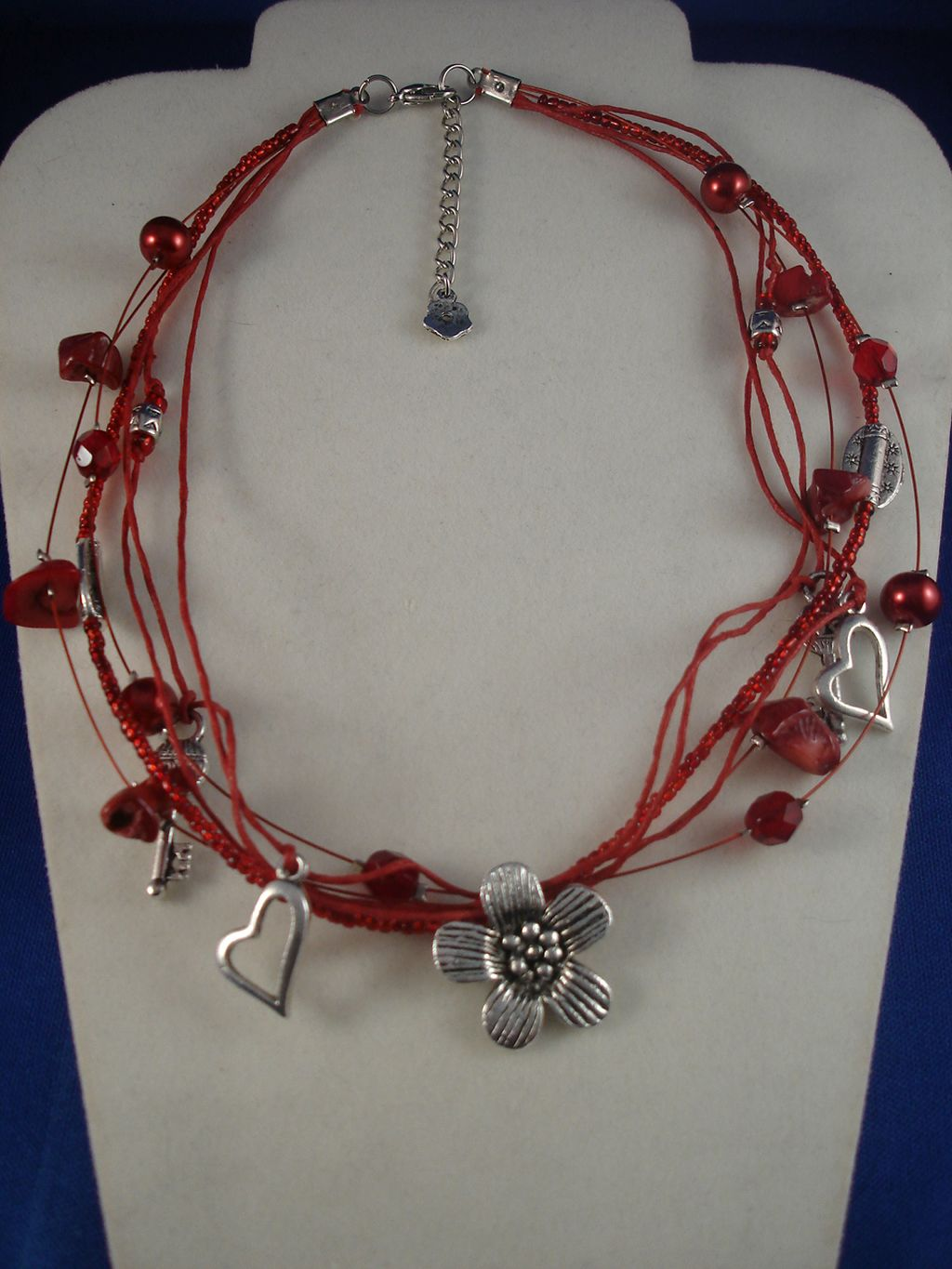 Red Necklace, Genuine Stones, Metal Hearts, Flowers, Keys Charms, Beads, Anti-allergic Jewelry
