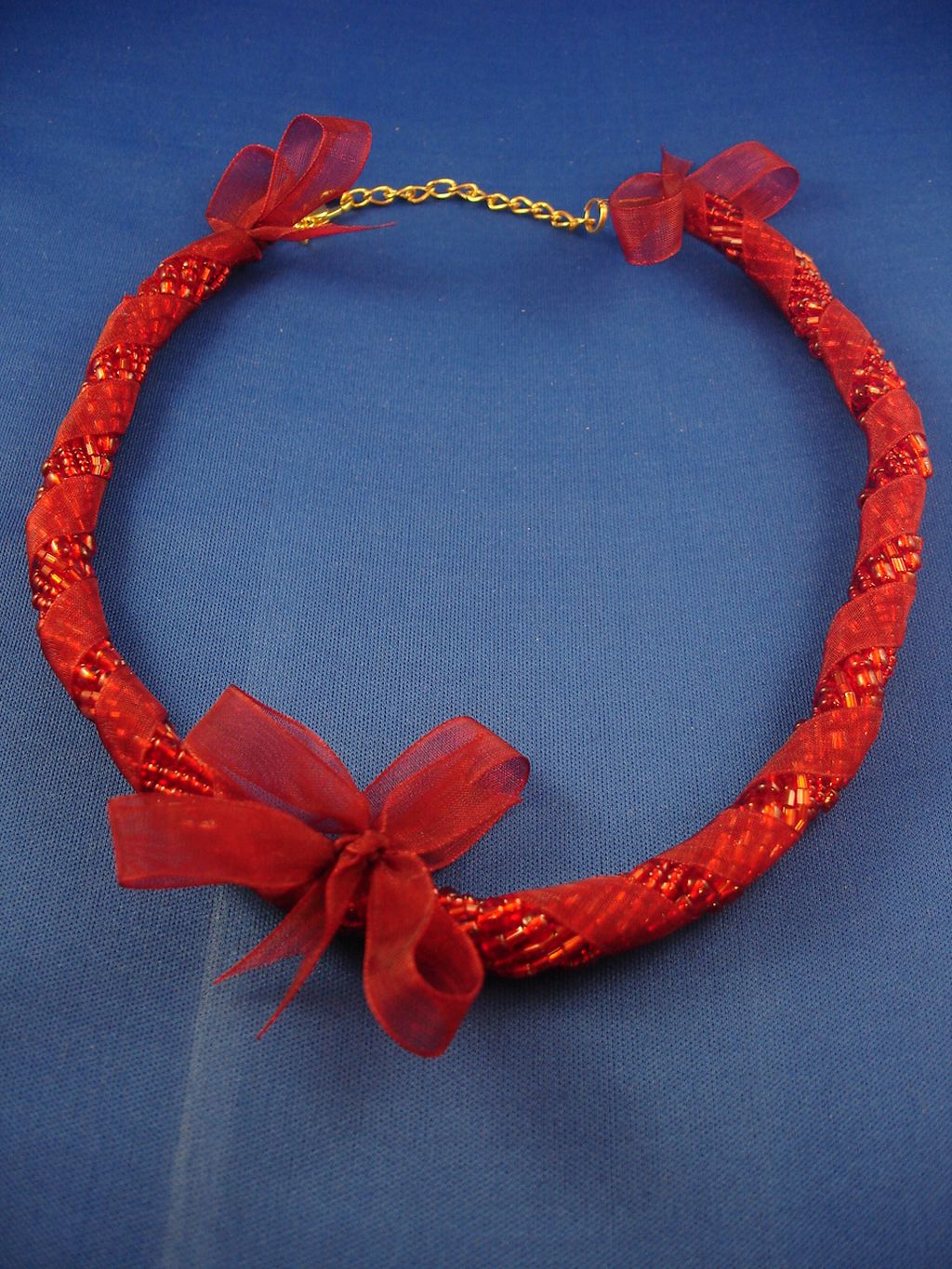 Red Ribbon Necklace, Eight Twisted Strings of Beads, European Fashion Jewelry