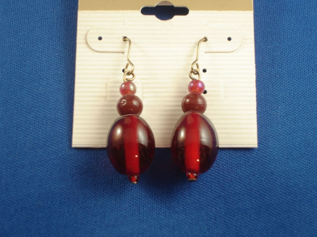 Red Stained Glass Earrings, Beads, Anti-allergic Jewelry