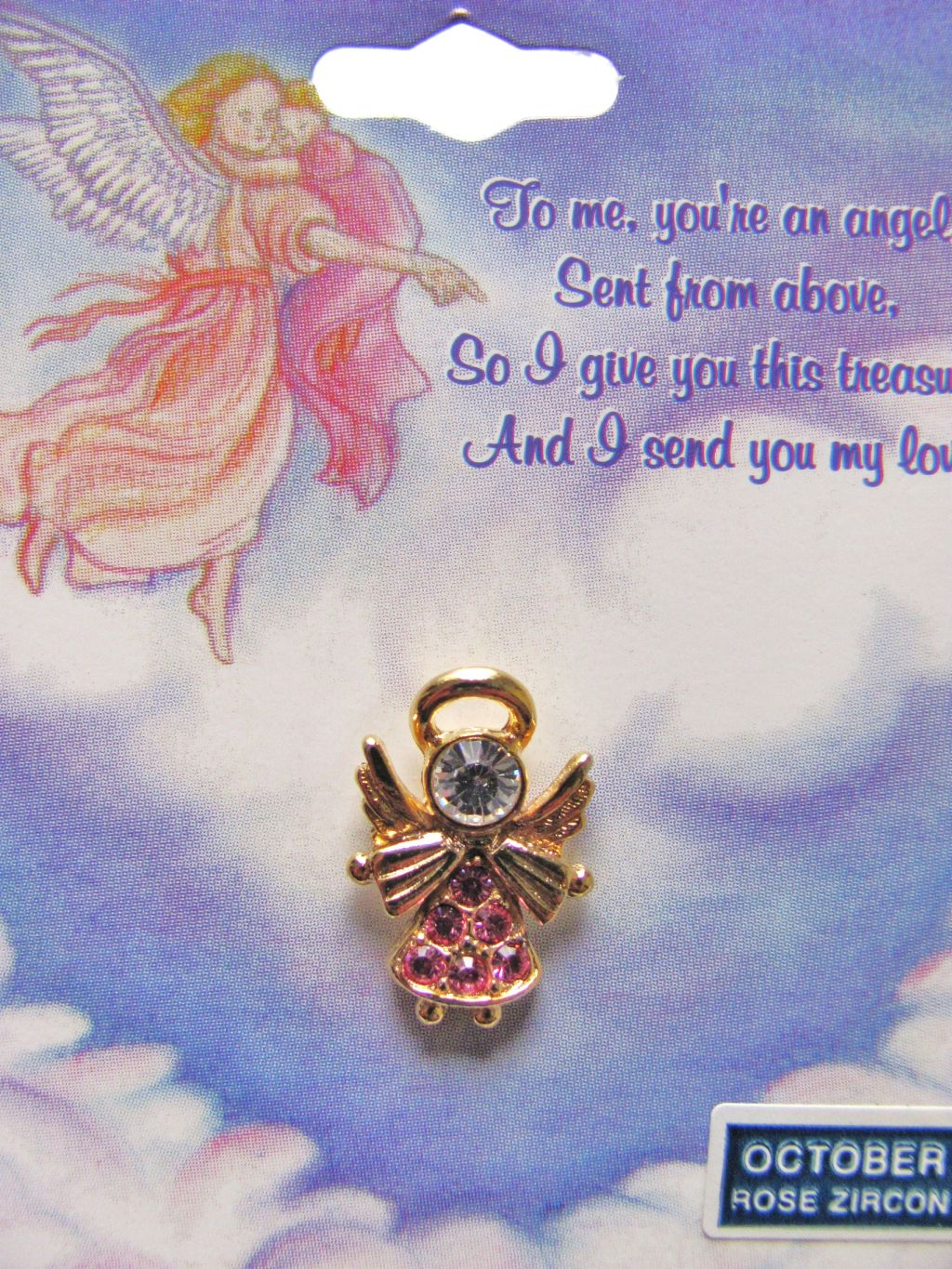 Rose Zircon-October Birthstone Angel Pin Gold Tone, Genuine Austrian Crystals