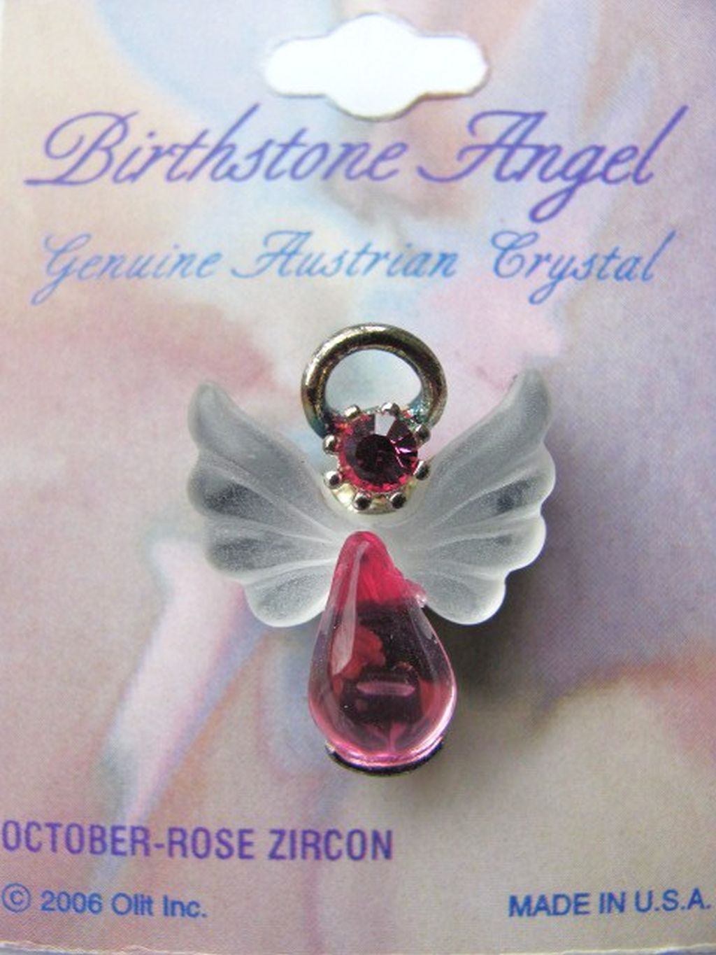 Rose Zircon October Birthstone Angel Pin, Genuine Austrian Crystals