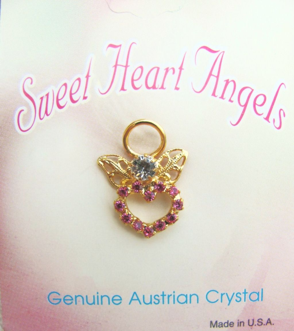 Pink Sweet Heart Angel Pin Gold Tone, Genuine Austrian Crystals