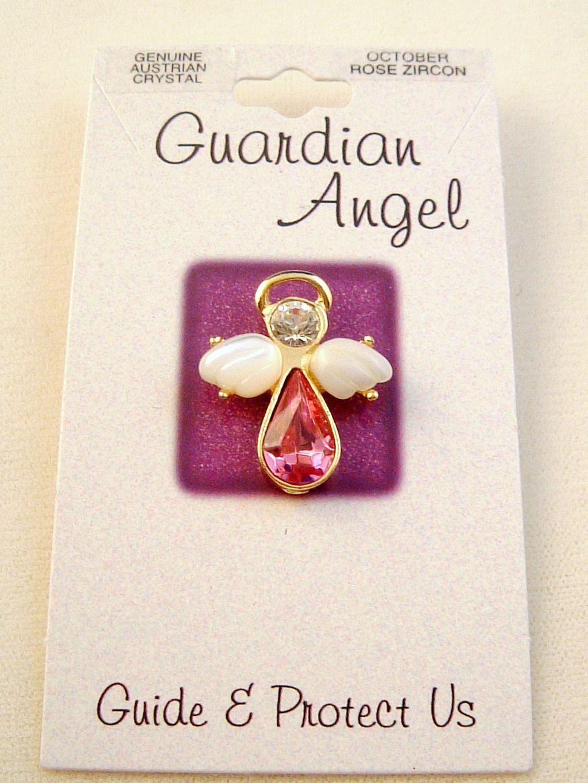 Rose Zircon-October Birthstone Guardian Angel Pin, Genuine Austrian Crystals, Gold Finish Metal