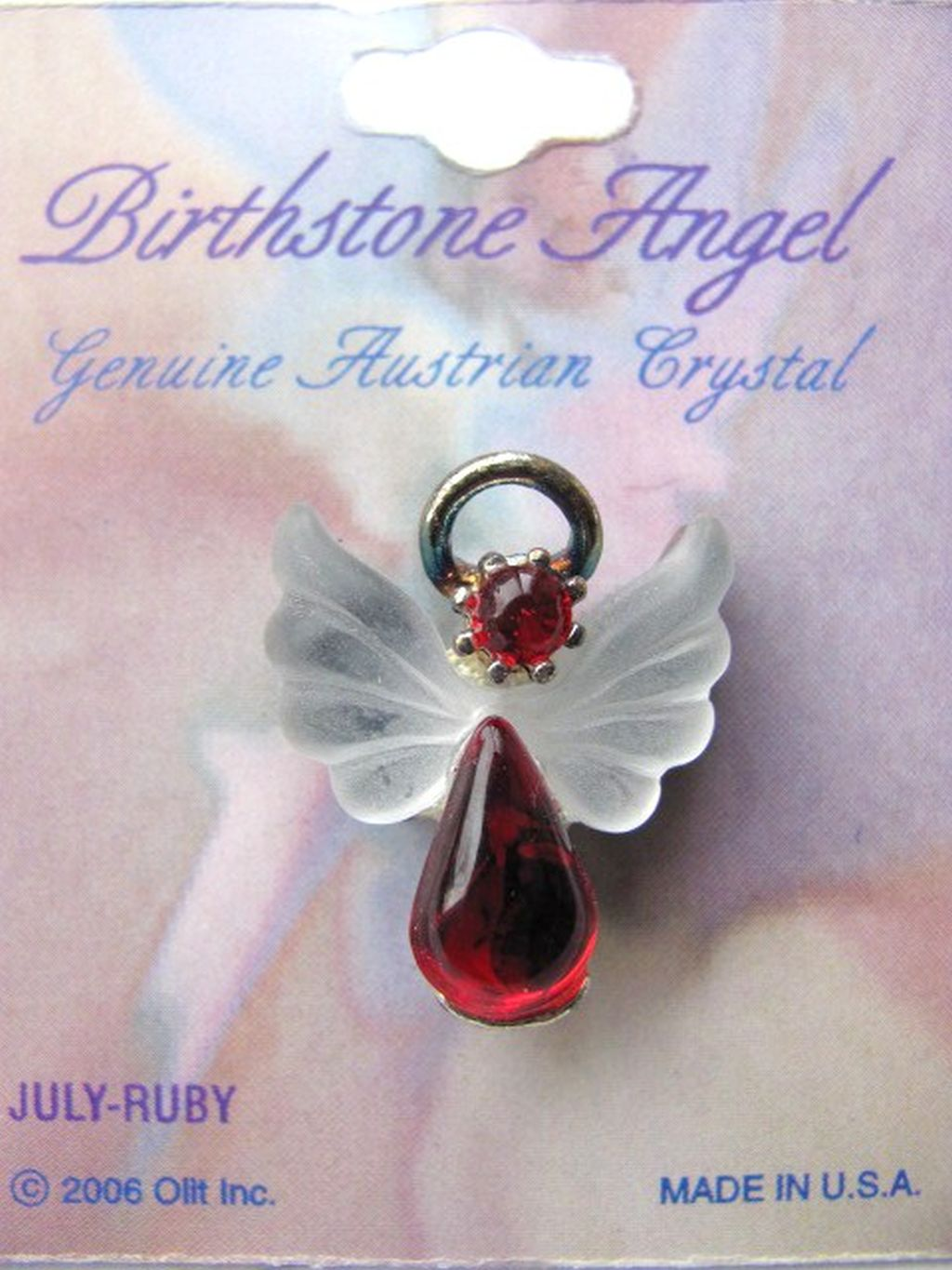 Ruby July Birthstone Angel Pin, Genuine Austrian Crystals