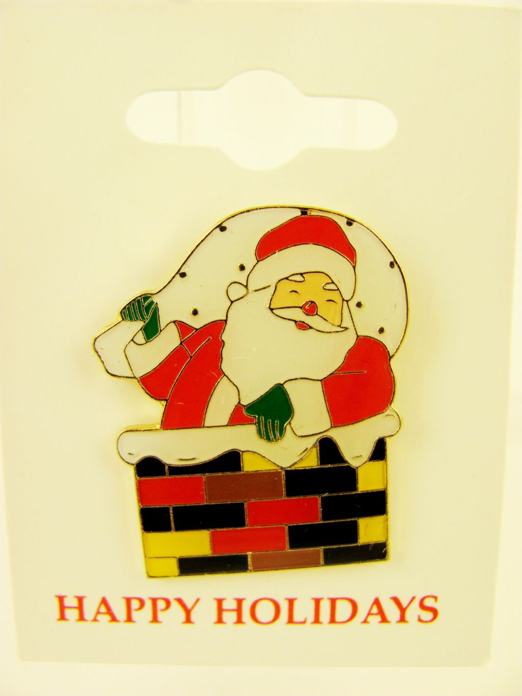 Santa Claus in Chimney Xmas Christmas Pin