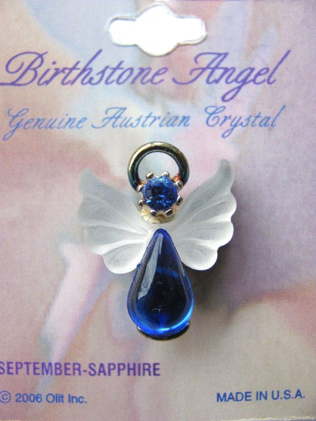 Sapphire September Birthstone Angel Pin, Genuine Austrian Crystals