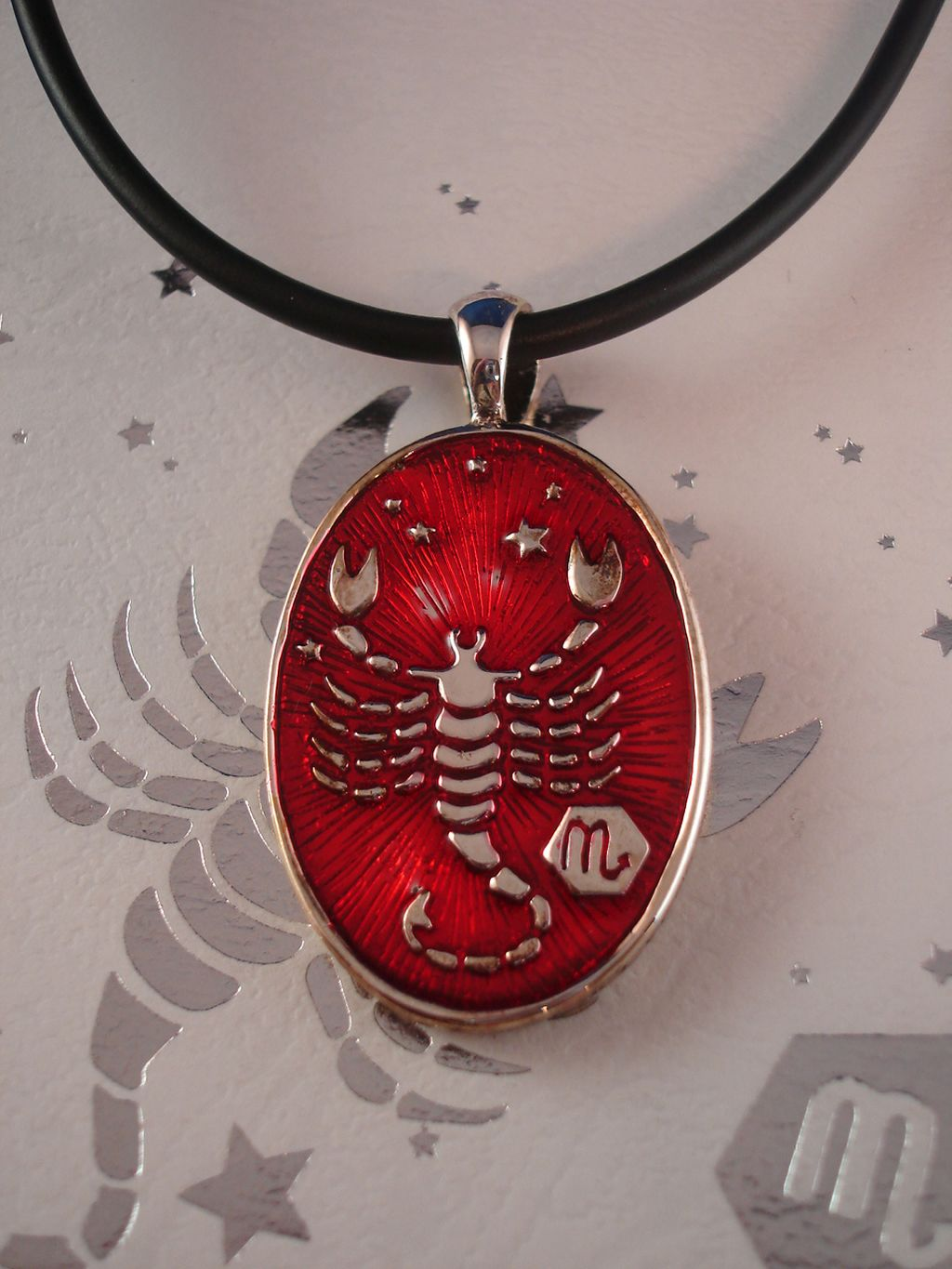 Scorpio Symbol Zodiac Sign Necklace, Reversible Metal Pendant w/ Side Engraving