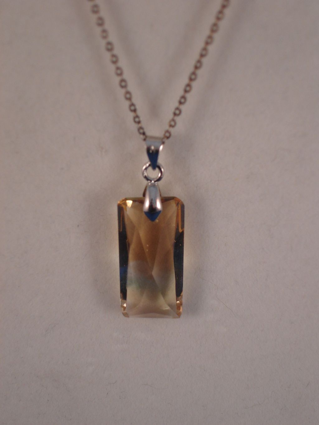 "Silver Color Necklace, 1"" Genuine Austrian Crystal Pendant, Anti-allergic Jewelry"