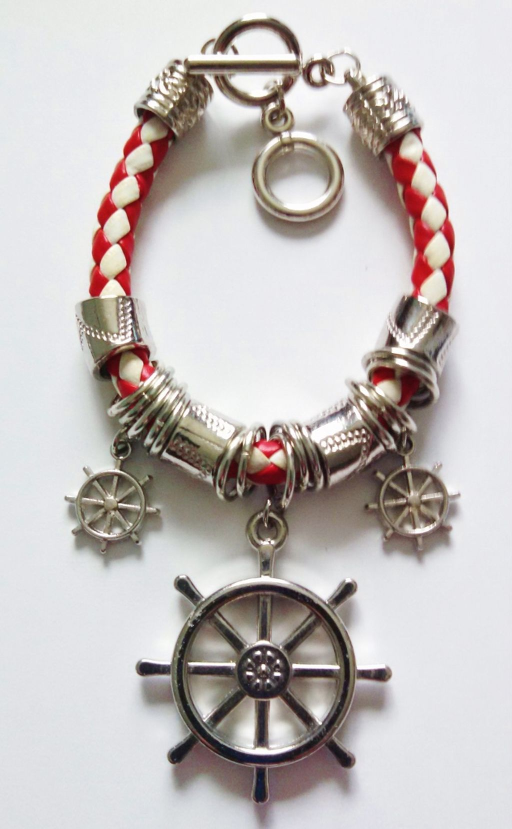 Silver Naval Ship Wheel Sailing Charm Bracelet, Nautical Jewelry Red/White