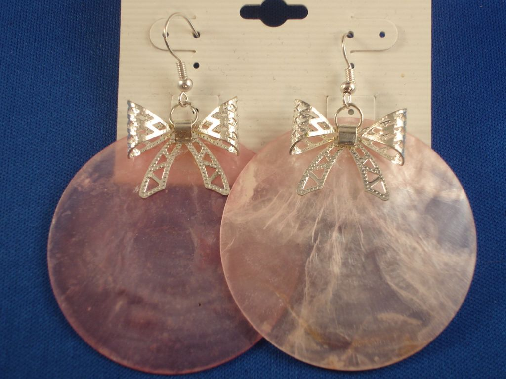 Silver Ribbon & Large Pink Genuine Shell Earrings