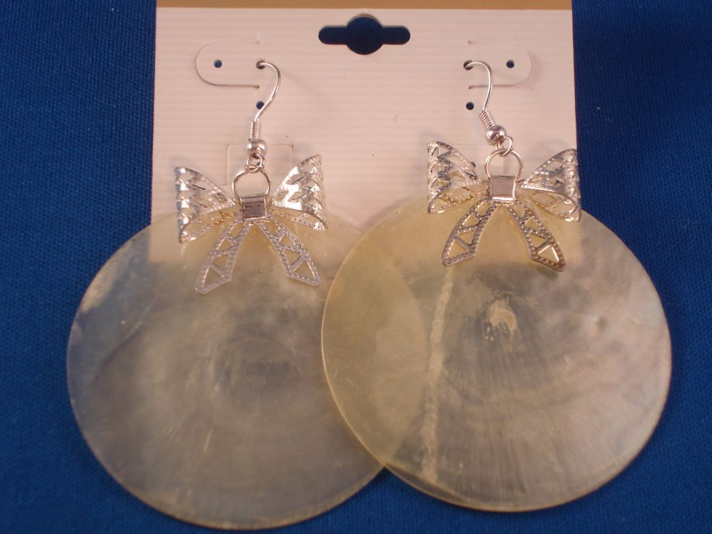 Silver Ribbon & Large Yellow Genuine Shell Earrings