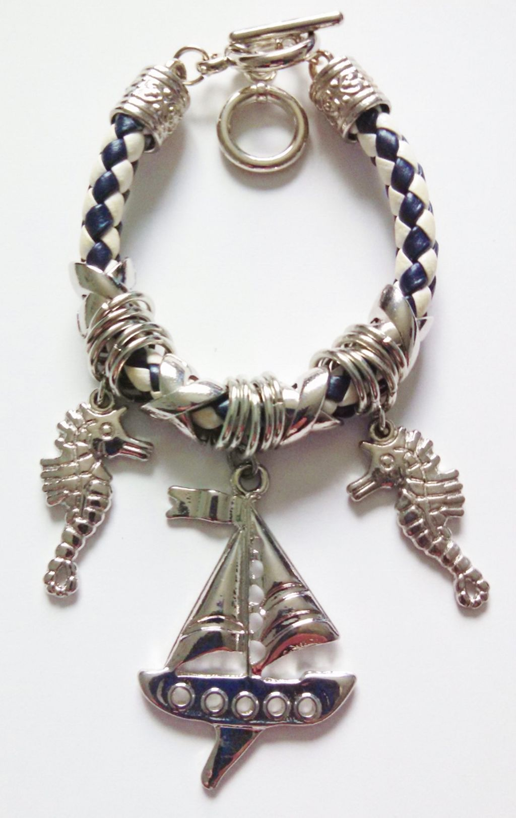 Silver Ship/Yacht & Seahorse Sailing Charm Bracelet, Nautical Jewelry Blue/White