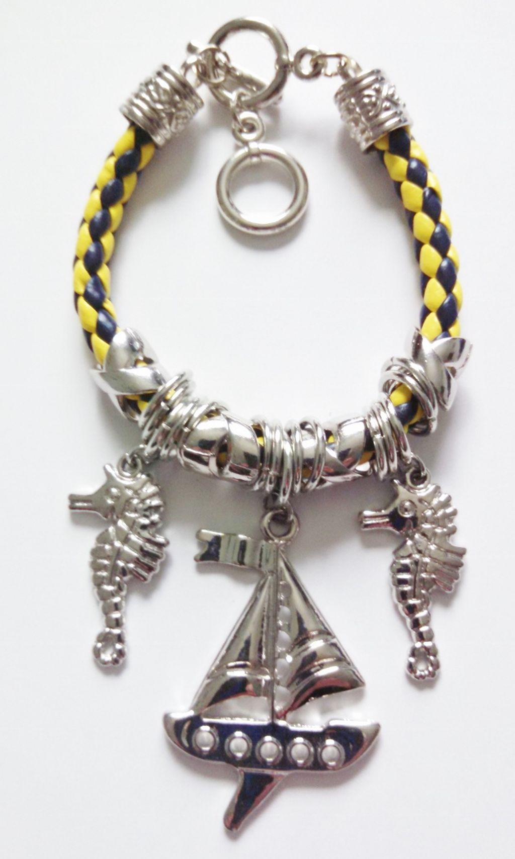 Silver Ship/Yacht & Seahorse Sailing Charm Bracelet, Nautical Jewelry Blue/Yellow