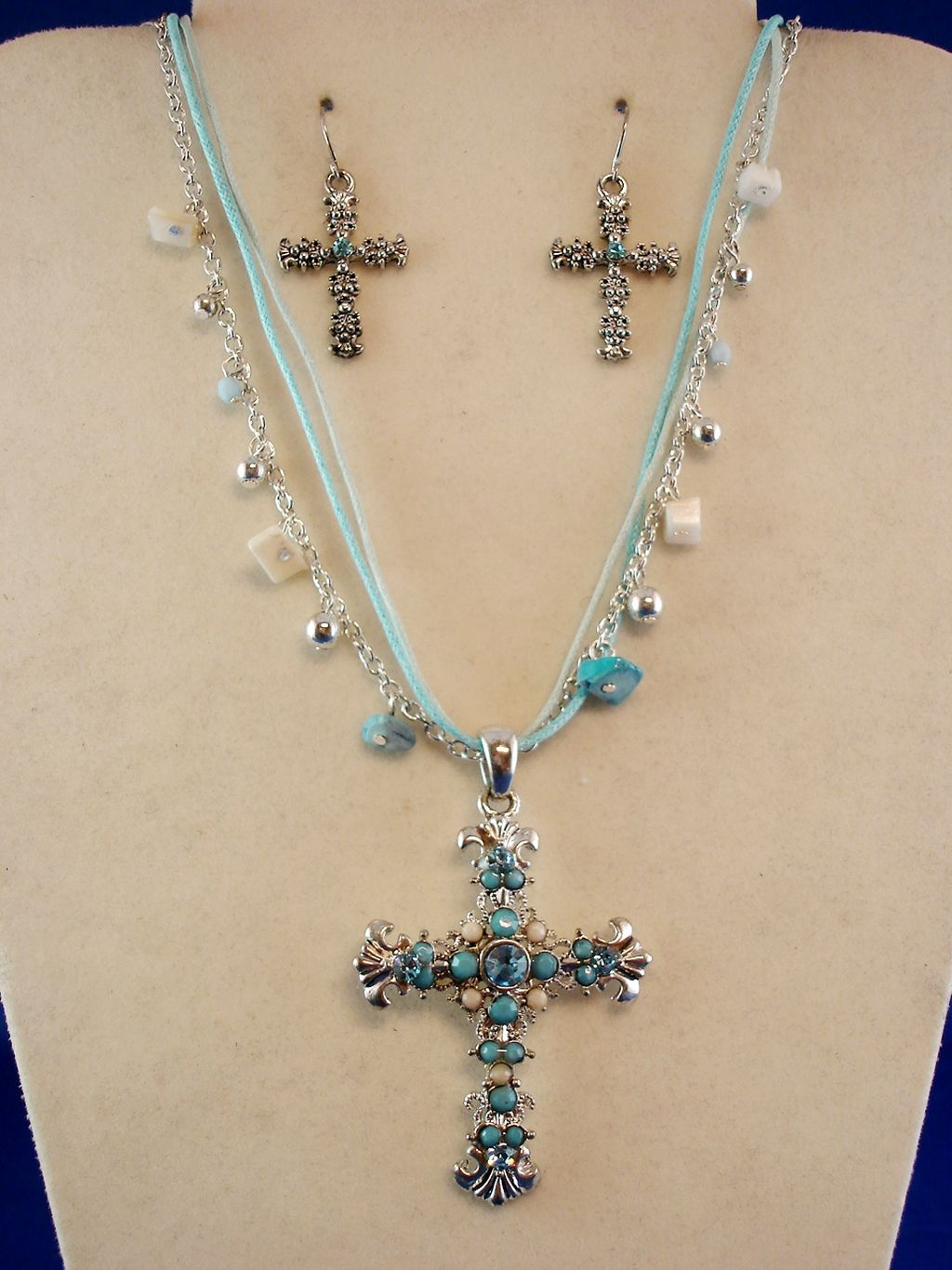 Sky Blue Filigree Cross Set of Necklace & Earrings, ZC Zirconia Stones, Genuine Shells