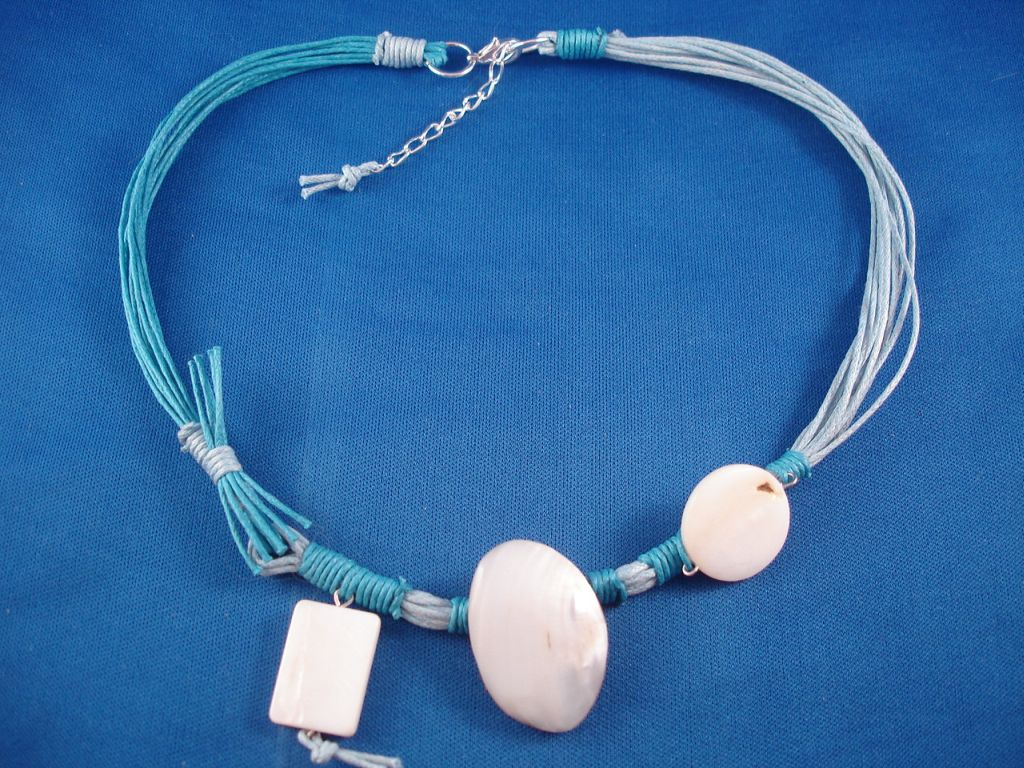 Sky Blue Necklace, Black Sea Shells, Wood, Cotton Cord, European Fashion Jewelry