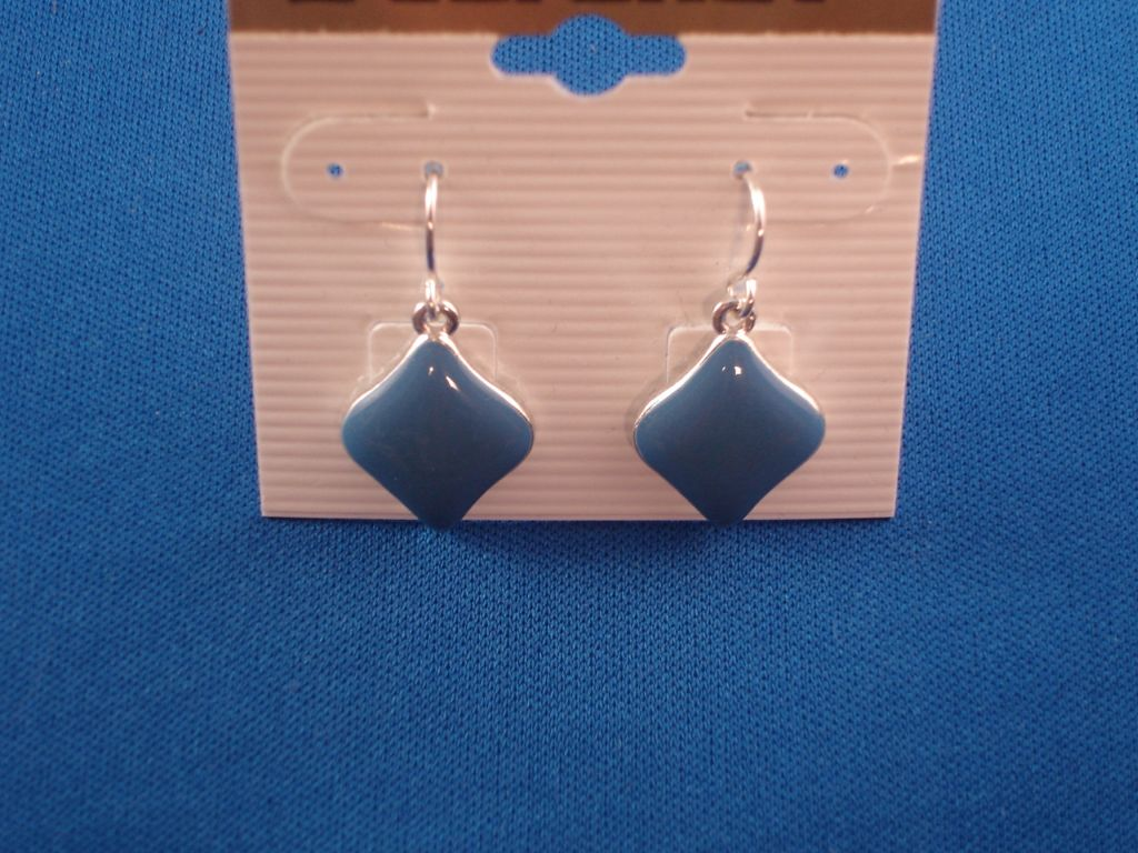 Sky Blue Rhomb Dangling Earrings, Silver Tone Anti-allergic Metal