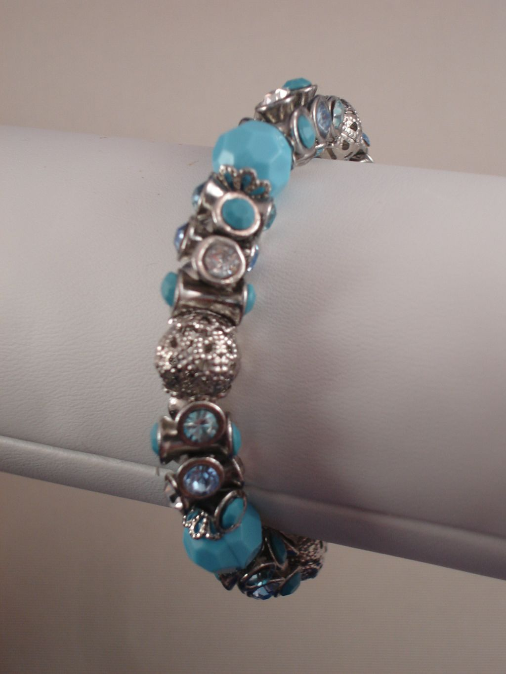Sky Blue Stretching Braclet, Metal & Vinyl Beads, Genuine CZ Stones, Anti-allergic Jewelry
