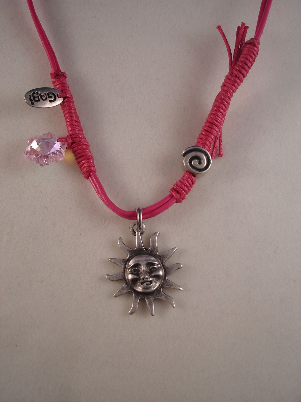 Smiling Sun Metal Pendant, Pink Leather Necklace