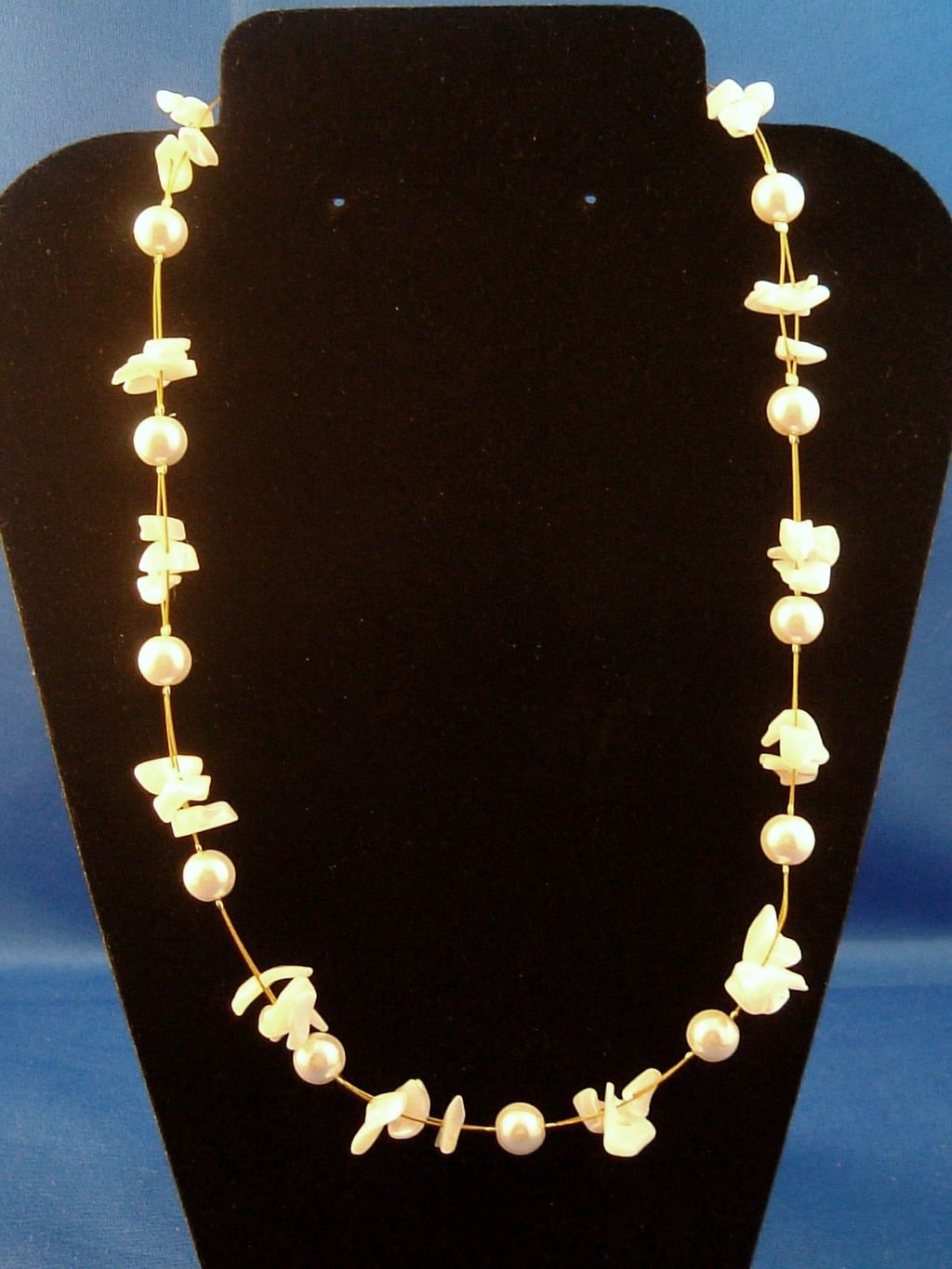 Snow White Necklace, Two Layers of Genuine Shells & Artificial Pearls, Fashion European Jewelry