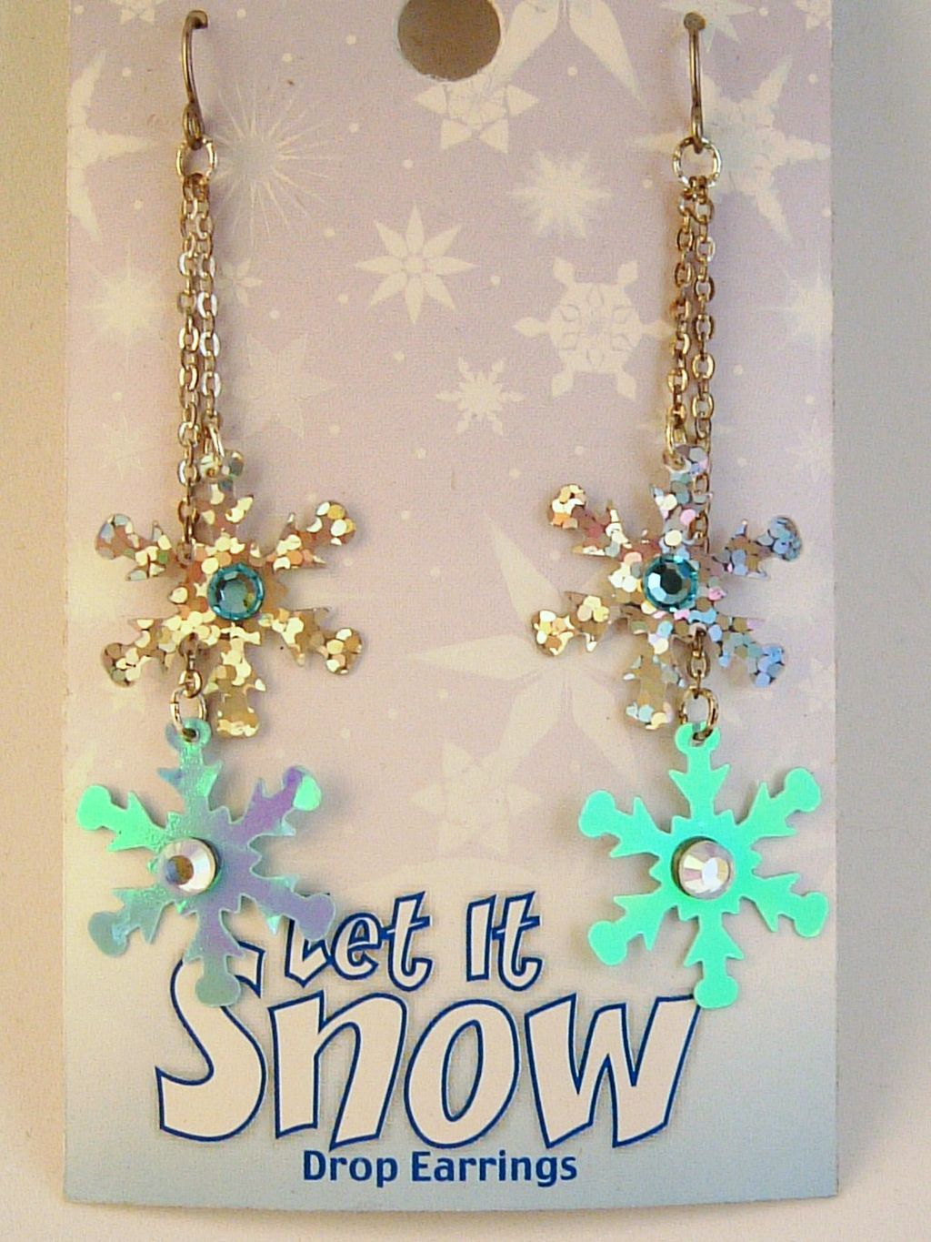 Sparkling Snowflakes, Double Drop Chain Earrings