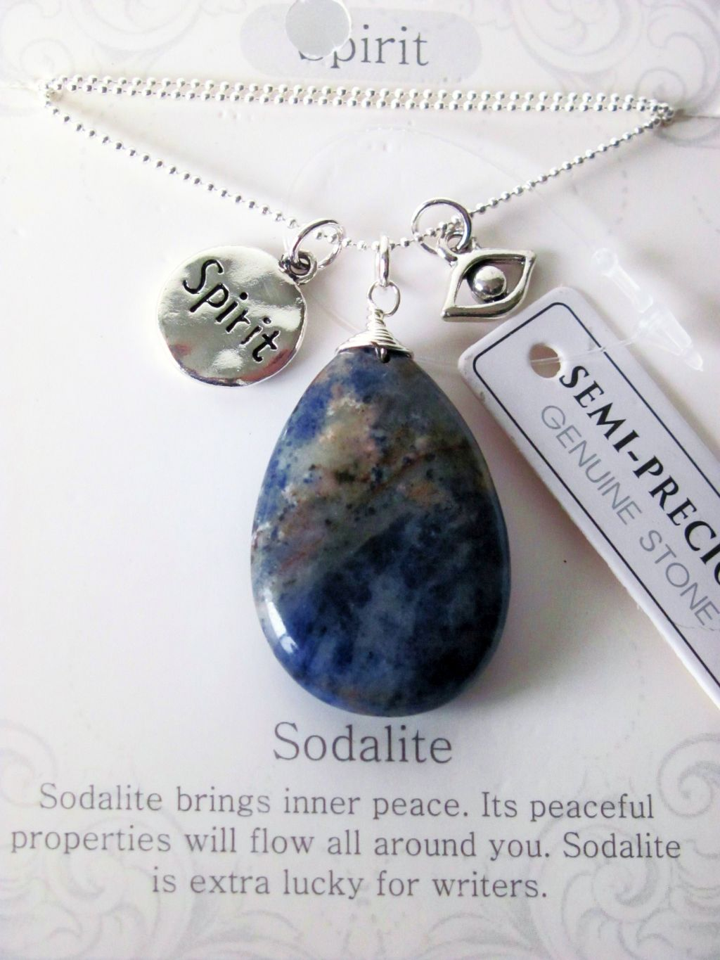 Spirit Stone Genuine Sodalite Tear Drop Pendant Necklace w/ Charms