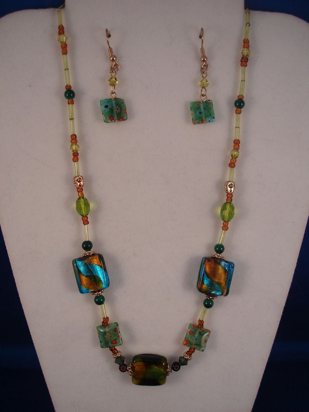 Stained Glass Set of Necklace & Earrings, Non-Allergic Jewelry