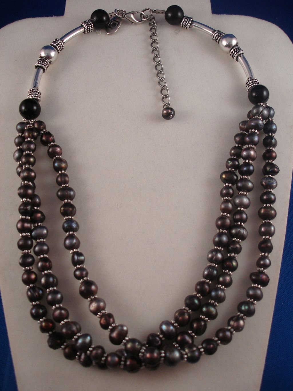 Three Layers Smoked Black Genuine Pearls Necklace, Classic Style