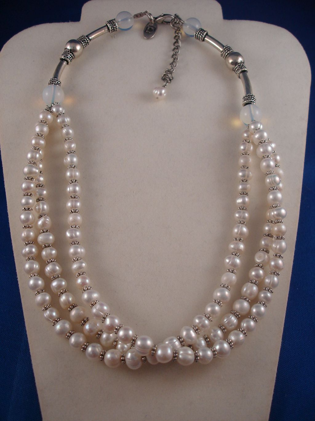 Three Layers White Genuine Pearls Necklace, Classic Style