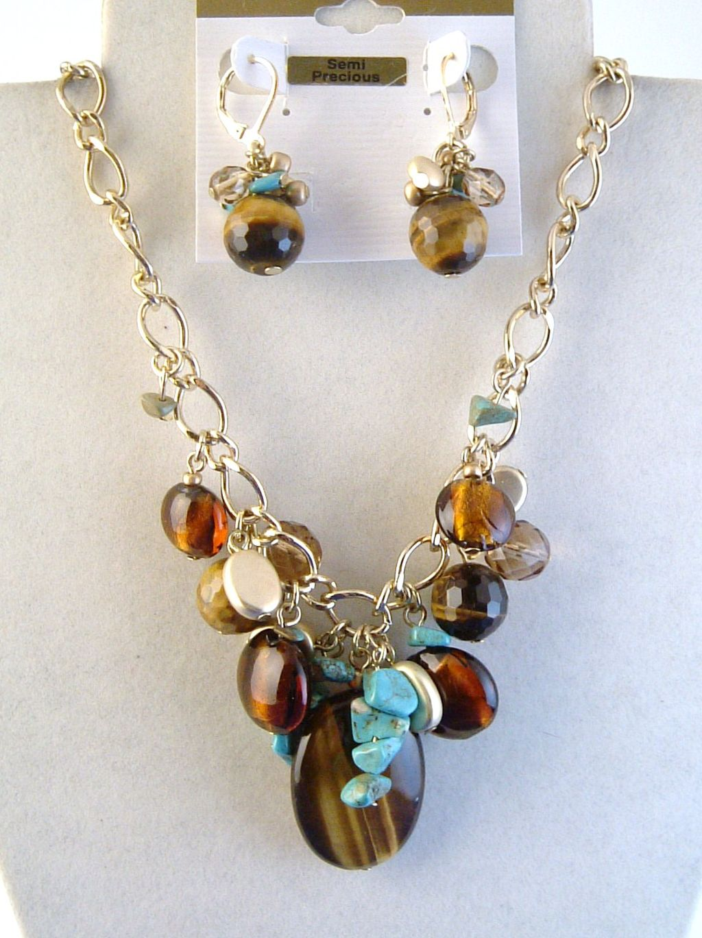 Tiger Eye Pendant Turquoise Multi-Dangle Charms Necklace Earrings Jewelry Set