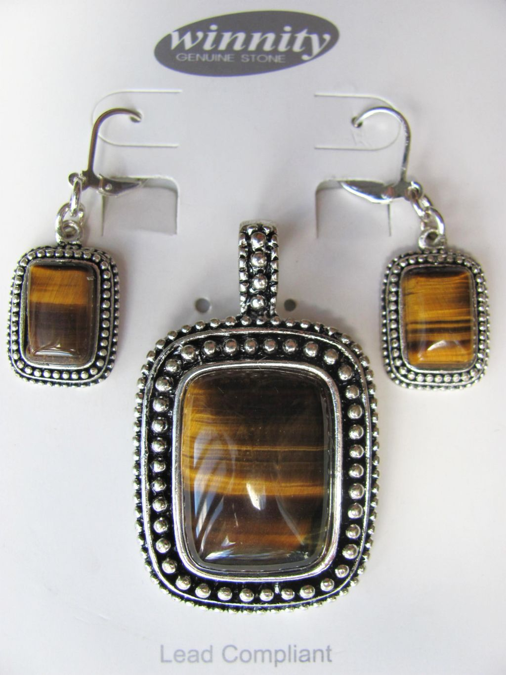 Tiger Eye Vintage Rectangle Pendant Earrings Set, Genuine Stone