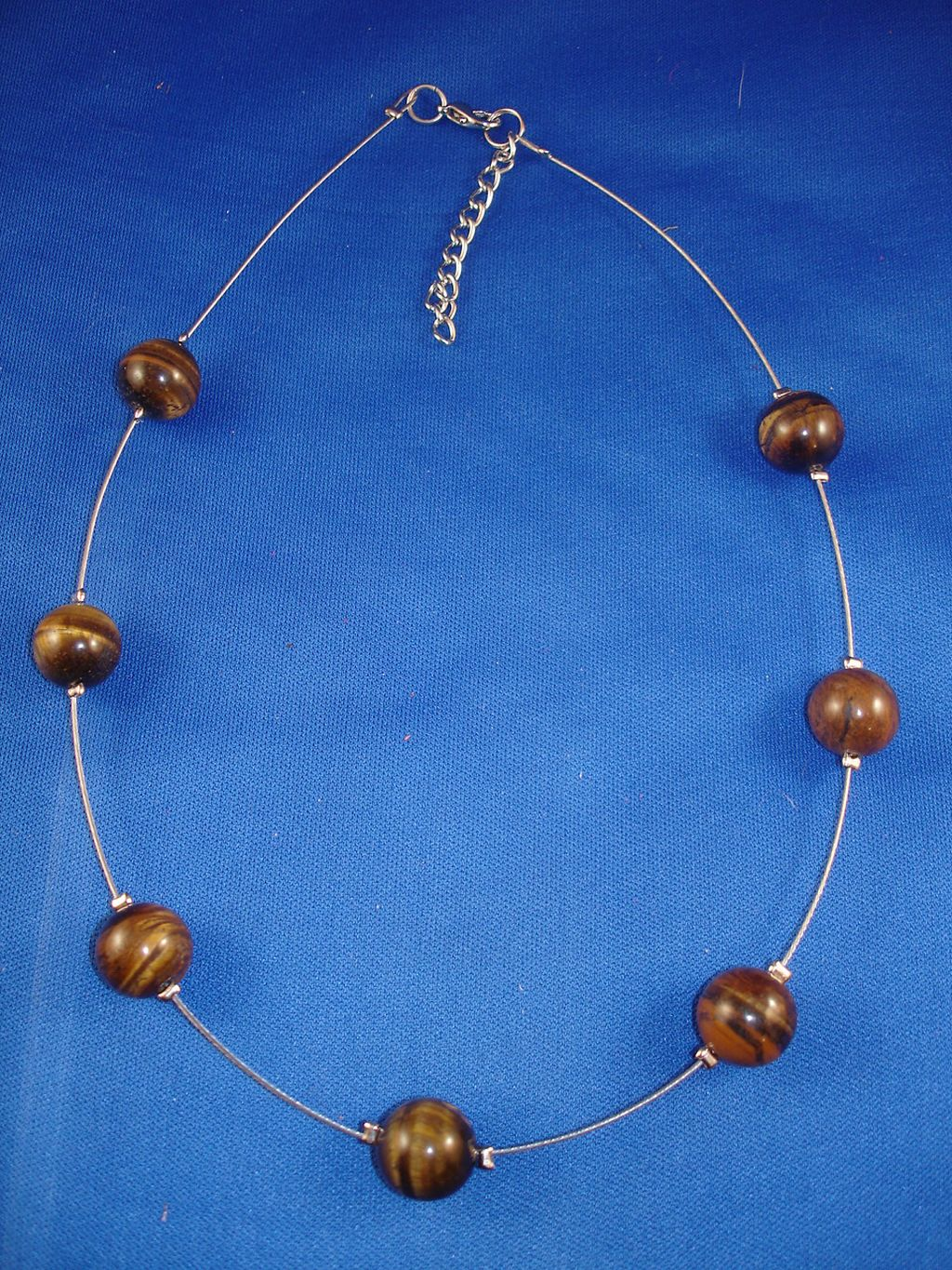 Tiger`s Eye Genuine Stones Ball Necklace, European Costume Jewelry