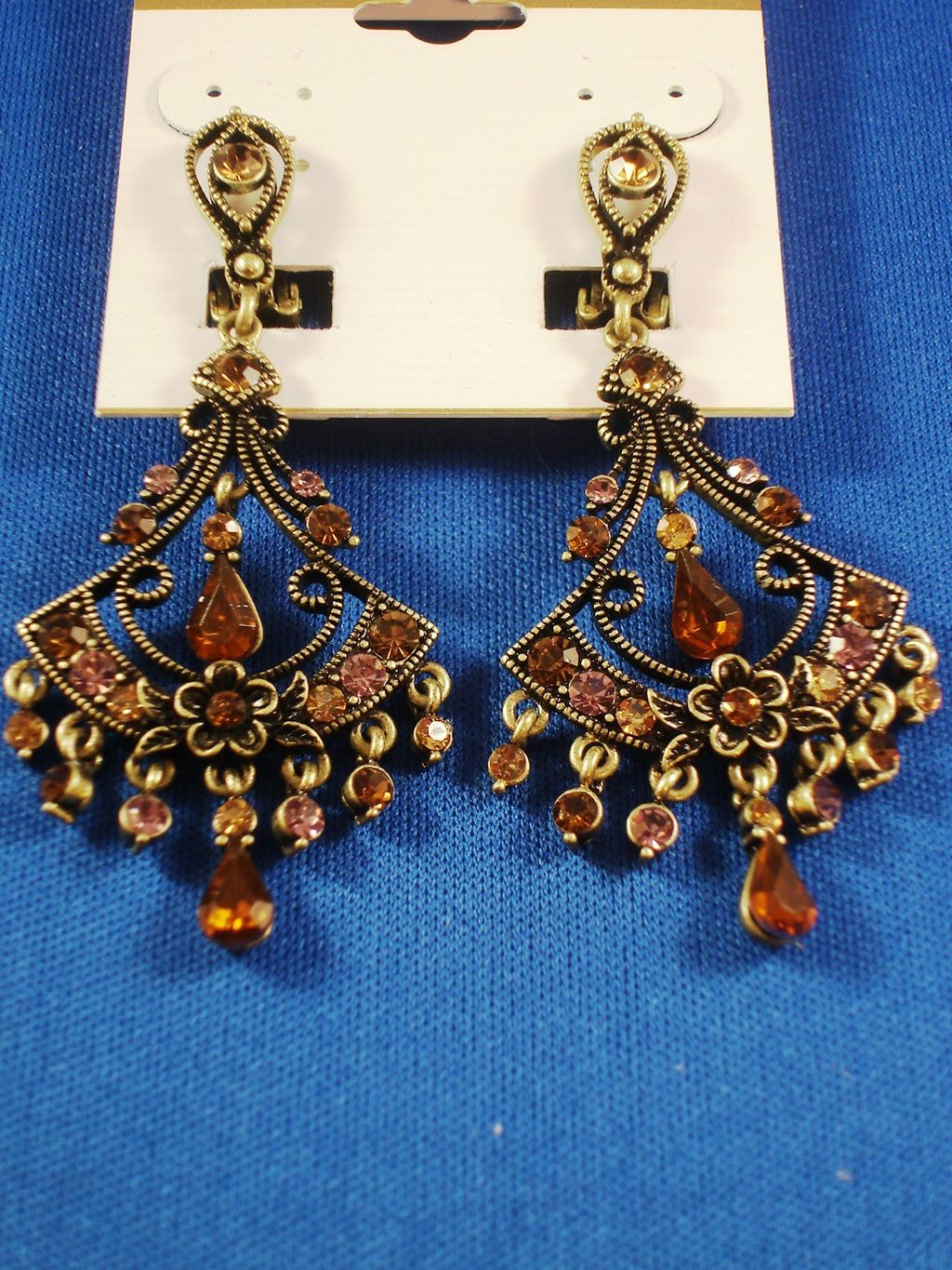 Topaz CZ Cubic Zirconia Crystal Filigree Clip Earrings